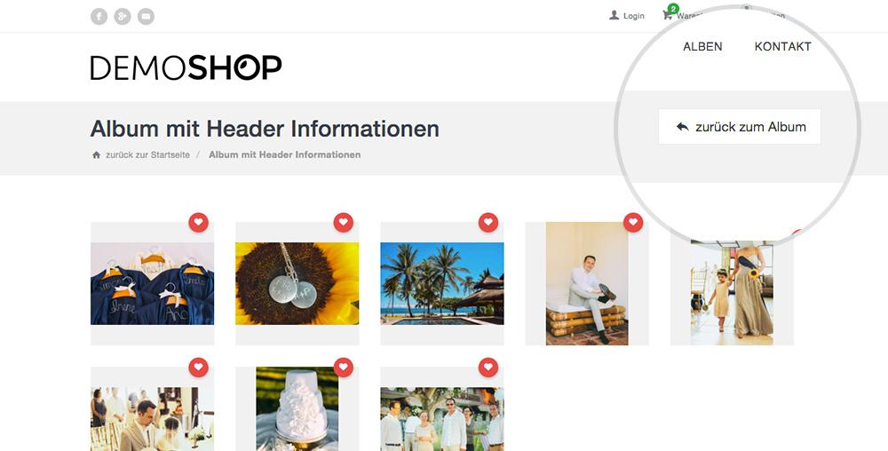 """Neuer Button Auf Der Favoriten-Seite Im Webshop """"Zurück Zum Album"""""""