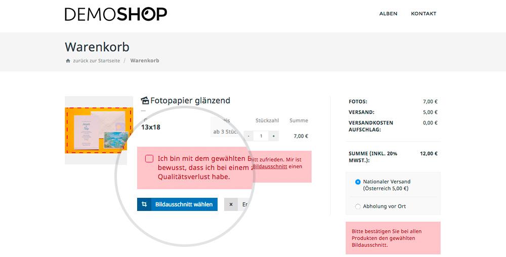 Bildauschnitt Im Shop System. Kunden Haben Die Möglichkeit Bestellten Bilder Im Online Shop Entsprechend Des Gewählten Produkt Zuzuschneiden.
