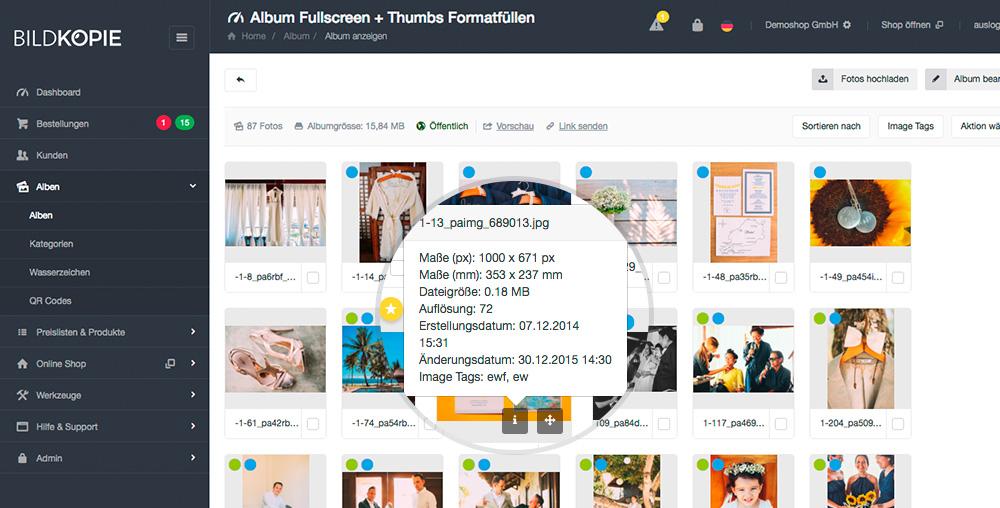 Das Info-Tooltip Bei Einem Bild Im Shop System In Der Album Detailsansicht Wurde Um Zusätzliche Informationen Wie Maße In Px, Maße In Mm Und Der Auflösung Erweitert.