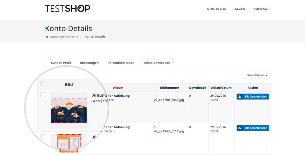 """Die Bildausschnitte (rote Rahmen) Werden Auch Unter """"Meine Downloads"""" Im Kundenbereich Des Kunden Im Online Shop Anzeigen"""