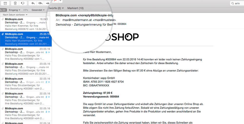 Automatischer Versand Von Zahlungserinnerungen Im Shop System