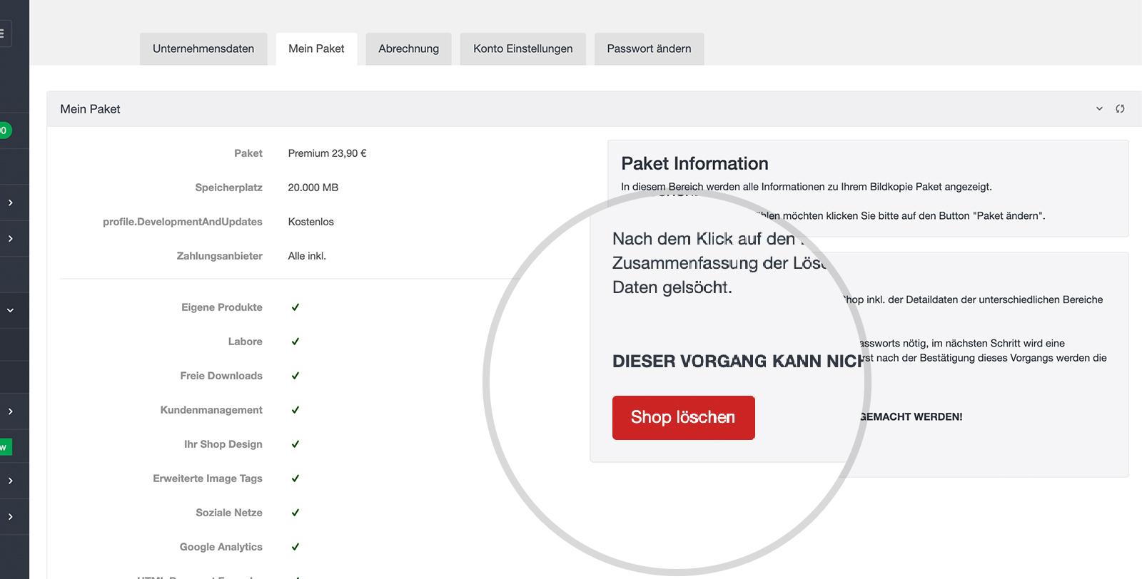 Datenschutz: Shop-Lösch-Funktion